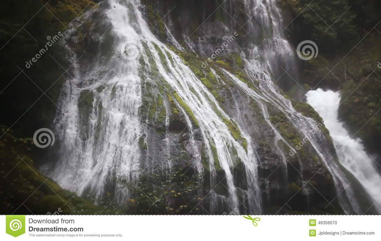 Zooming Out Movie Of Panther Creek Waterfalls In Wind River Valley.