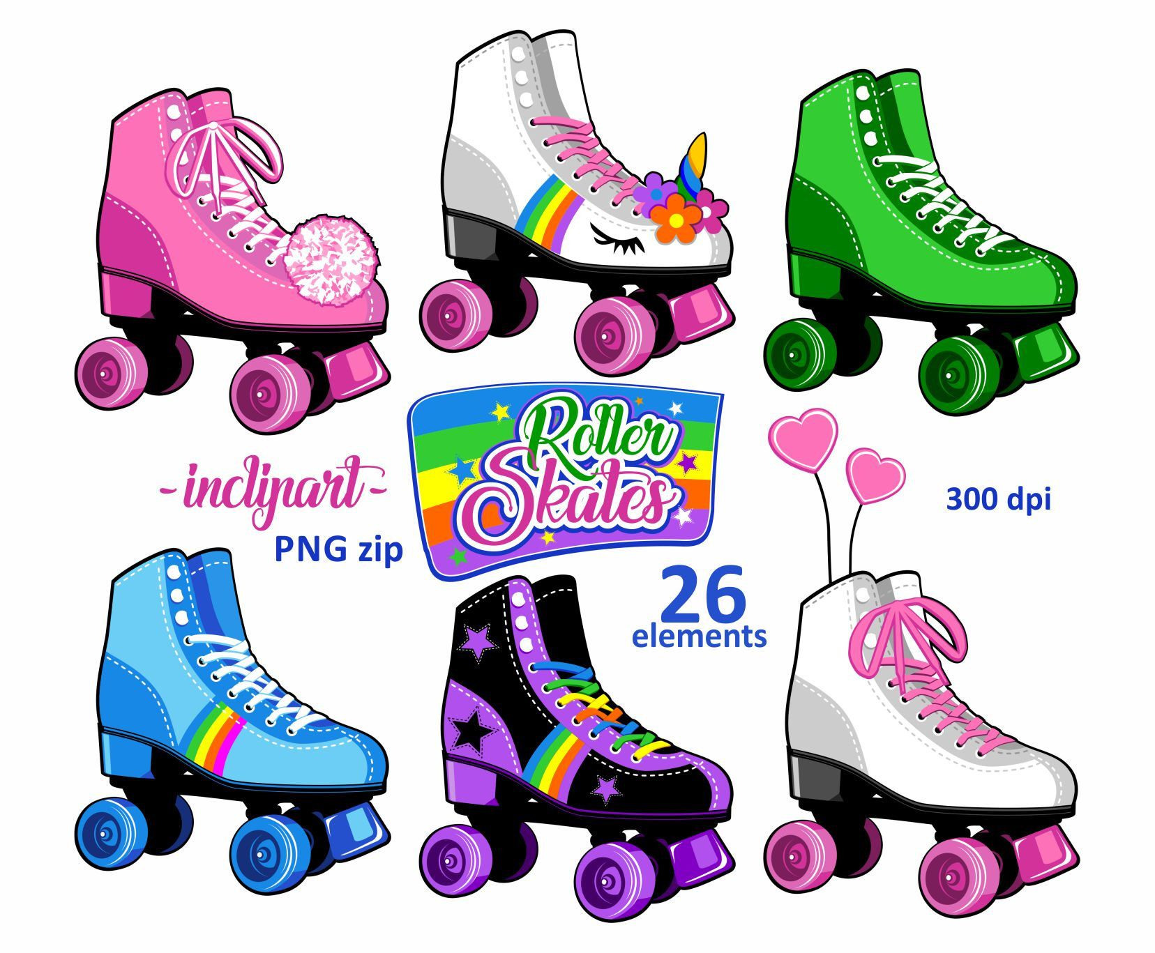Roller skates clipart. Party clipart. Colorful Roller skate.