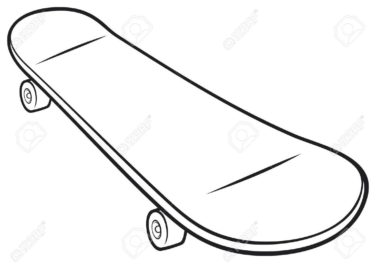 Skateboard Clipart Black And White.