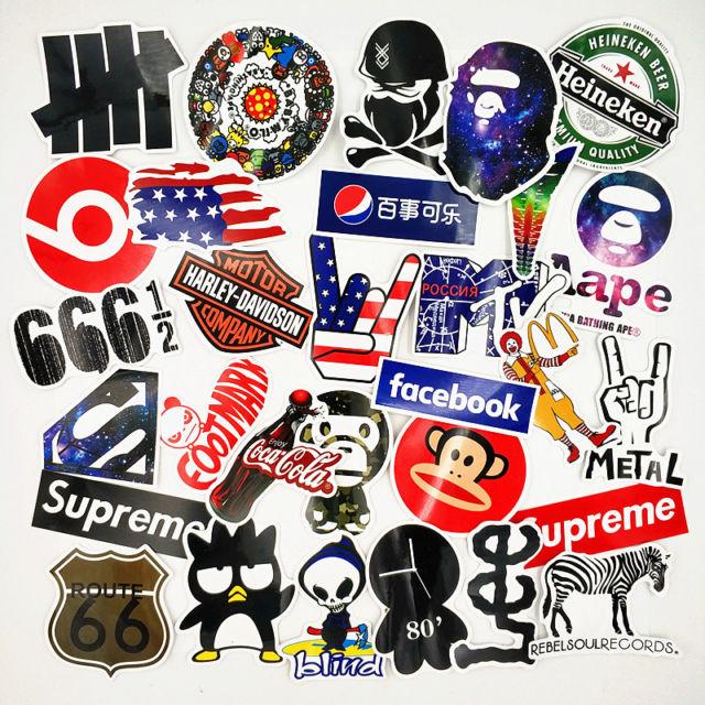 30 Stickers Vinyl Skateboard Guitar Travel Case Pack Tide BRAND Logo Decals.