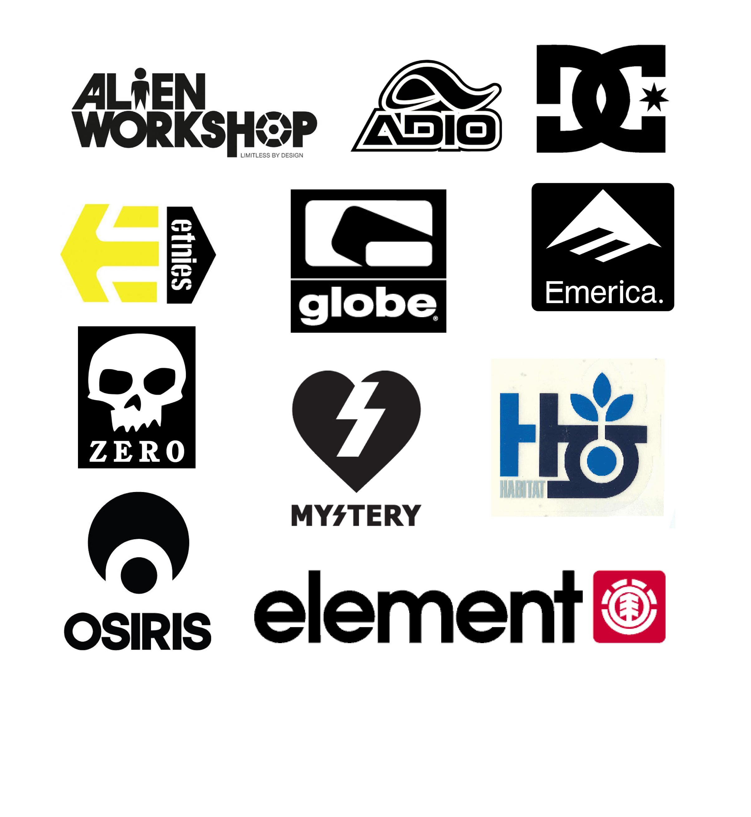 10. Vintage and Contemporary Skateboard Brand Logos.