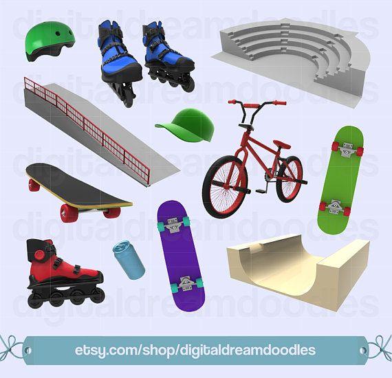 Skateboard Clipart, BMX Bike Clipart, Rollerblades Clipart.