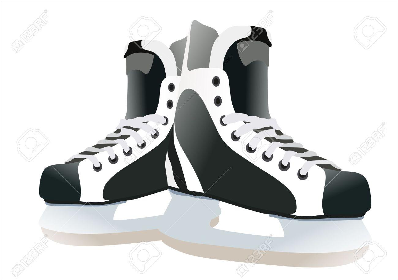 Pair Of Hockey Skates Isolated On White Background Royalty Free.