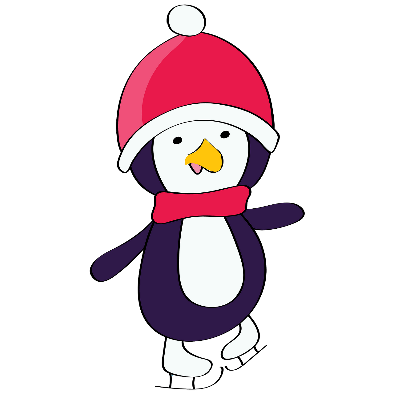 Christmas Penguin on the skates clipart. Free download.