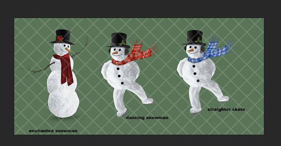 Enchanted snowman and skating snowman clipart pack.