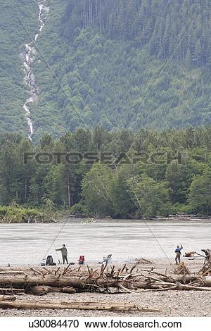 Stock Photography of Salmon fishermen at Polymar Bar, lower Skeena.