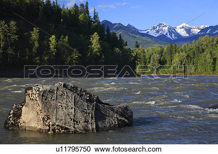 Stock Photography of Skeena River near the First Nations village.