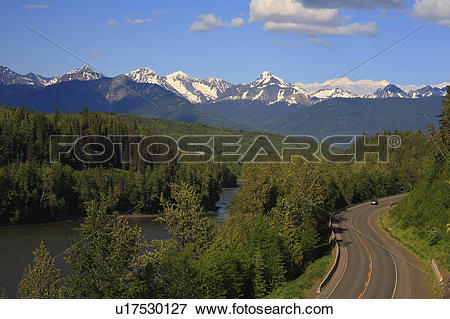 Picture of View of Skeena River and Hazelton Mountains near.