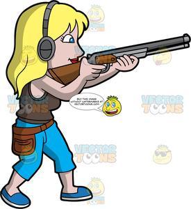 A Blonde Woman Skeet Shooting.