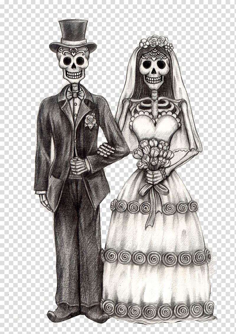 Groom and bride skeleton illustration, Calavera Day of the.