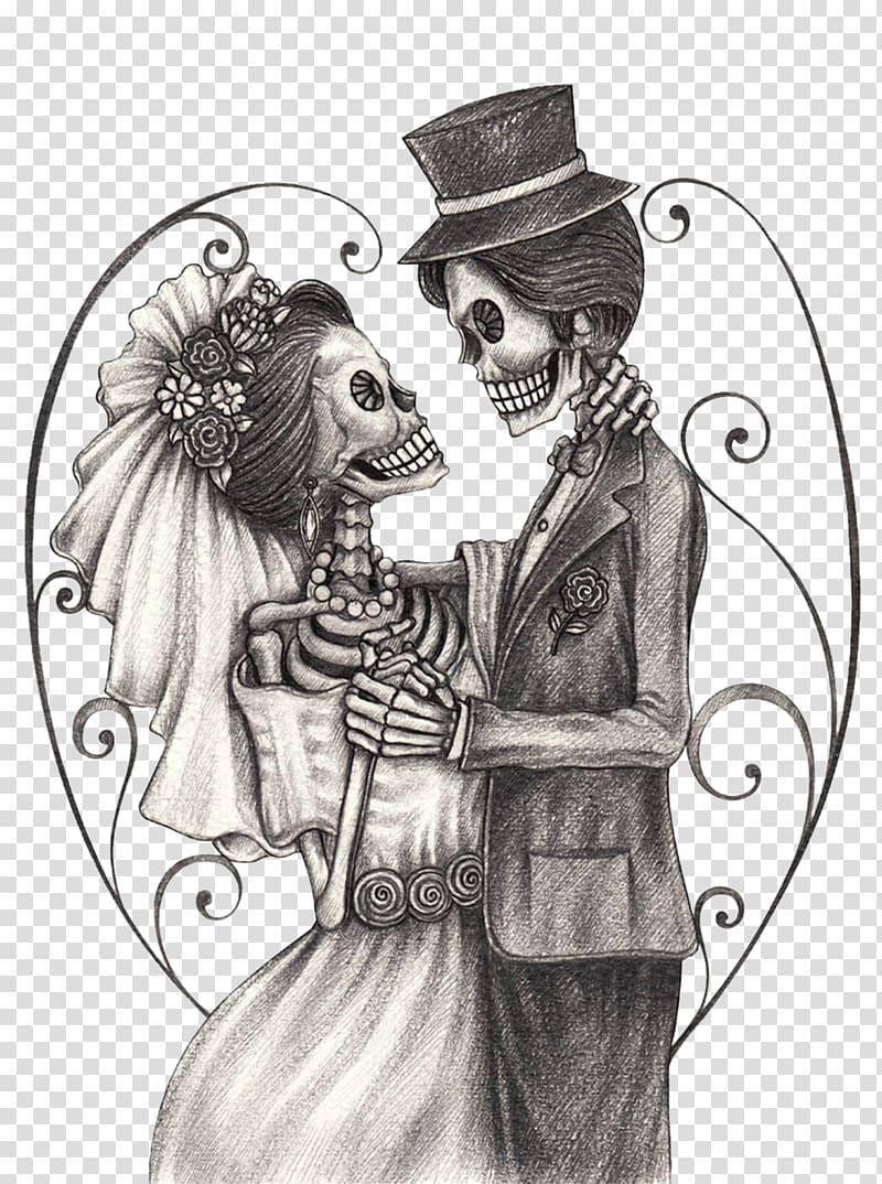 Skeleton couple illustration, Calavera Day of the Dead.