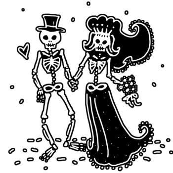 Skeleton Bride And Groom Drawing at PaintingValley.com.