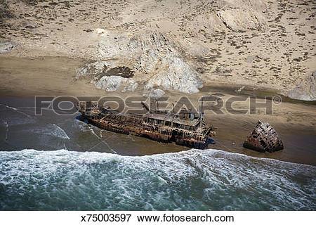 Picture of Namibia, Skeleton Coast, shipwreck on coast x75003597.