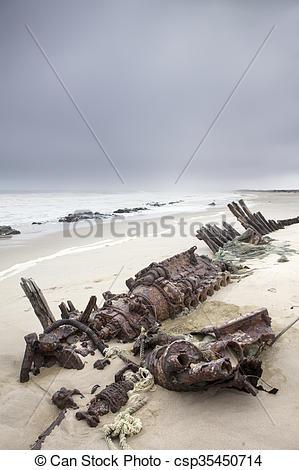 Stock Photography of Shipwreck on Skeleton Coast csp35450714.