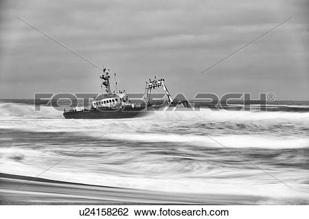 Stock Photo of Boat skeleton on Skeleton Coast u24158262.
