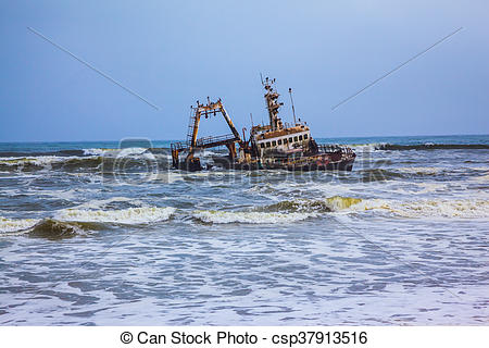 """Stock Photography of The ship crashed in """"Skeleton Coast"""" in."""