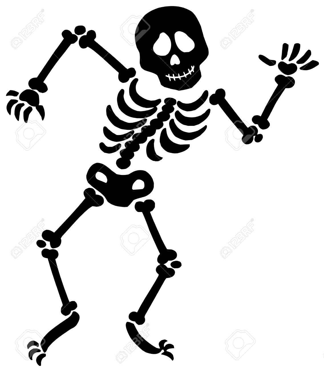 Dancing skeleton silhouette » Clipart Station.