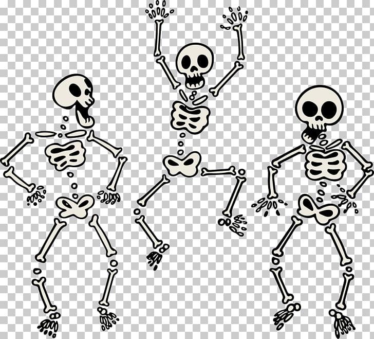 Human skeleton Skull Bone, painted three skeletons dancing.
