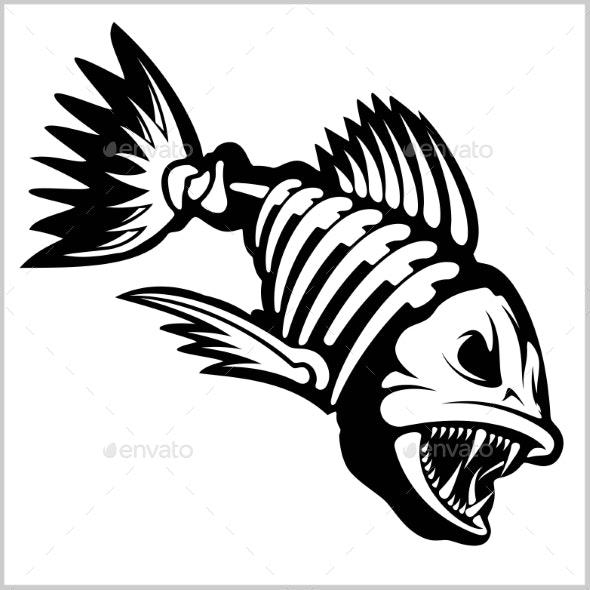 Fish Skeleton on White.