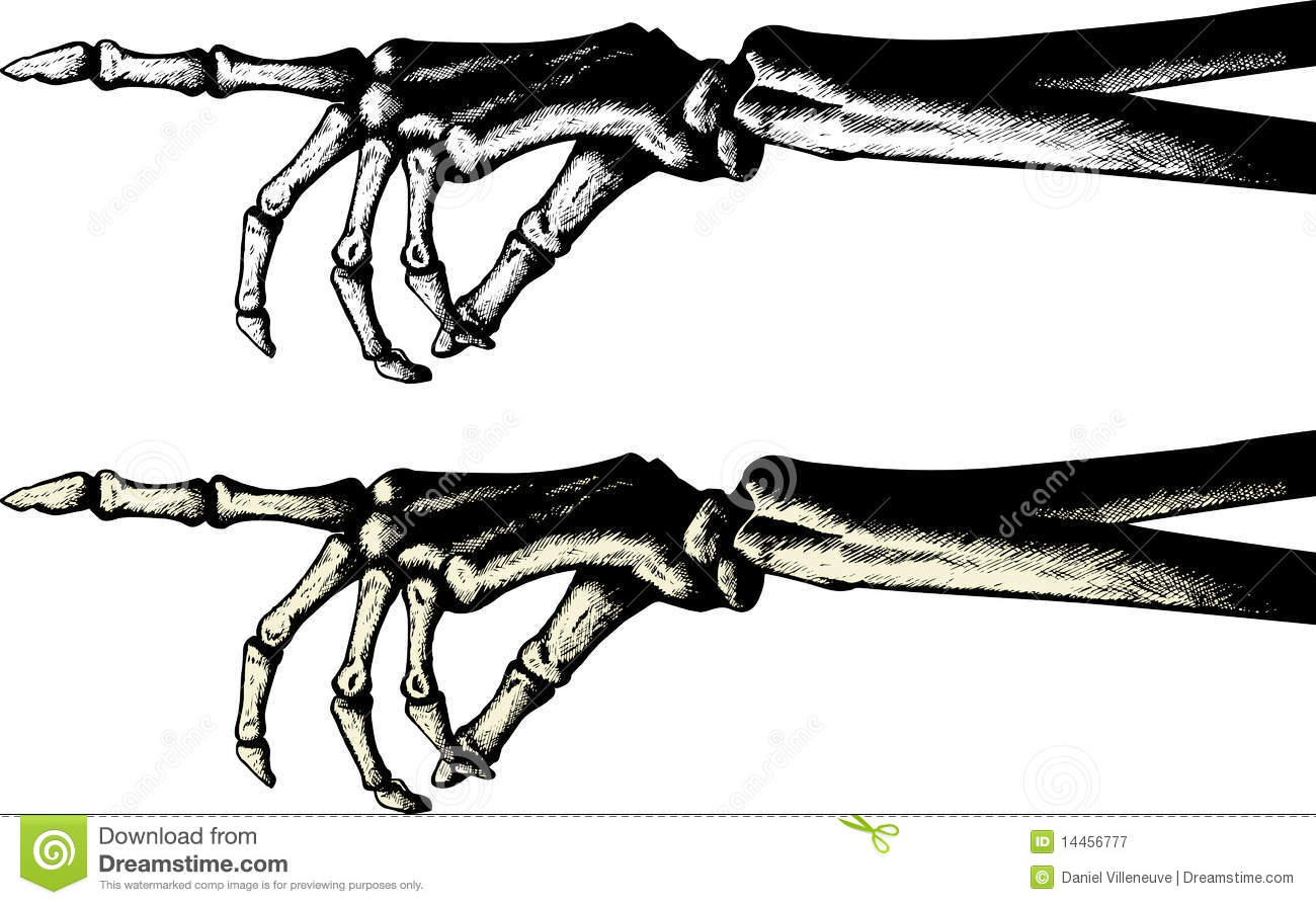 Skeleton Hand Pointing Clipart.