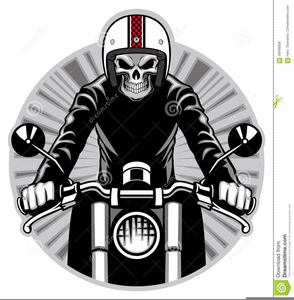 Skeleton Riding Motorcycle Clipart.