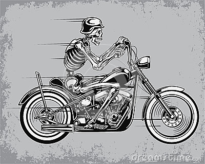 Motorcycle Skeleton Cliparts.