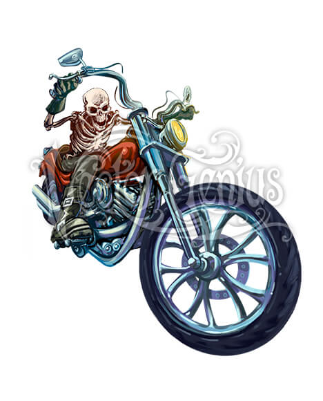 Hot Rod Skeleton Motorcycle ClipArt.