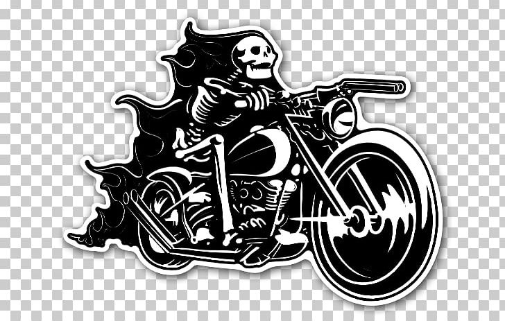 Motorcycle Skull Sticker Skeleton Bicycle PNG, Clipart.