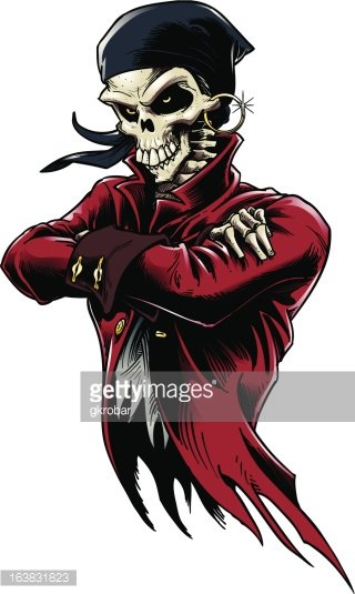 Skeleton Pirate Clipart Image.