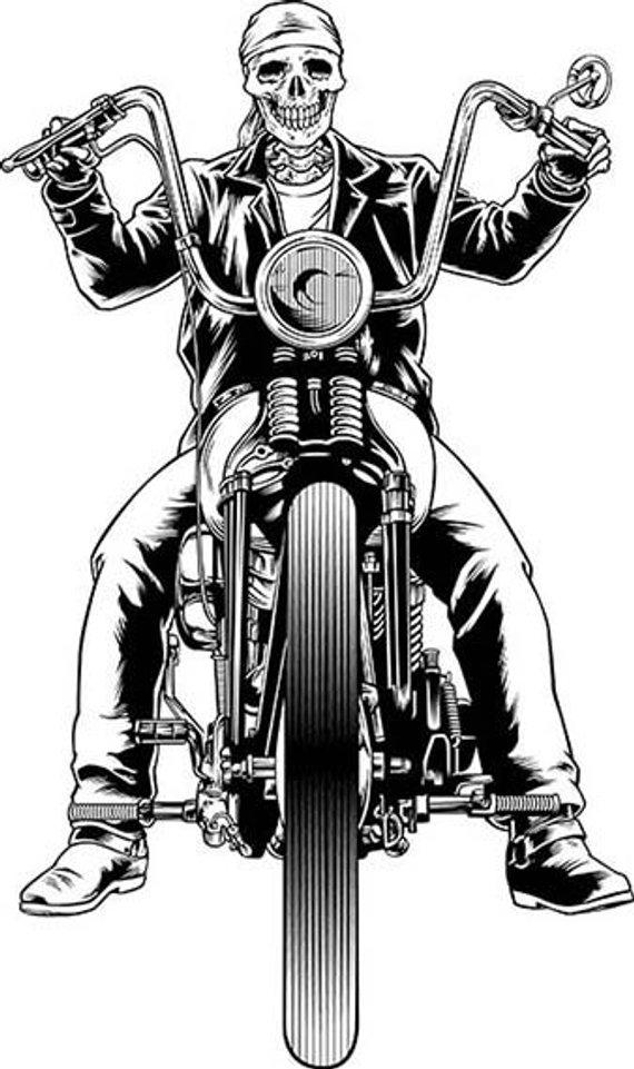 Biker, skull, skeleton, motorcycle, chopper, harley davidson.