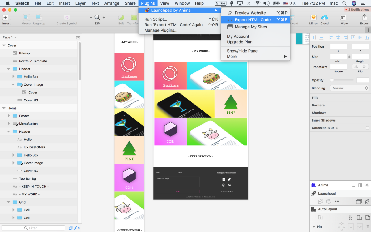 How to Export Sketch to HTML.
