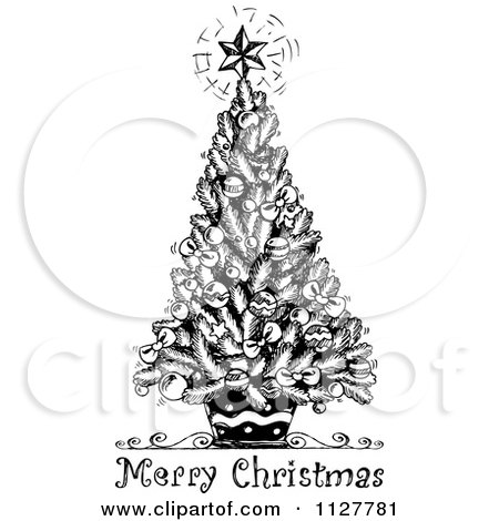 Cartoon Of A Merry Christmas Greeting And Sketched Tree In Black.