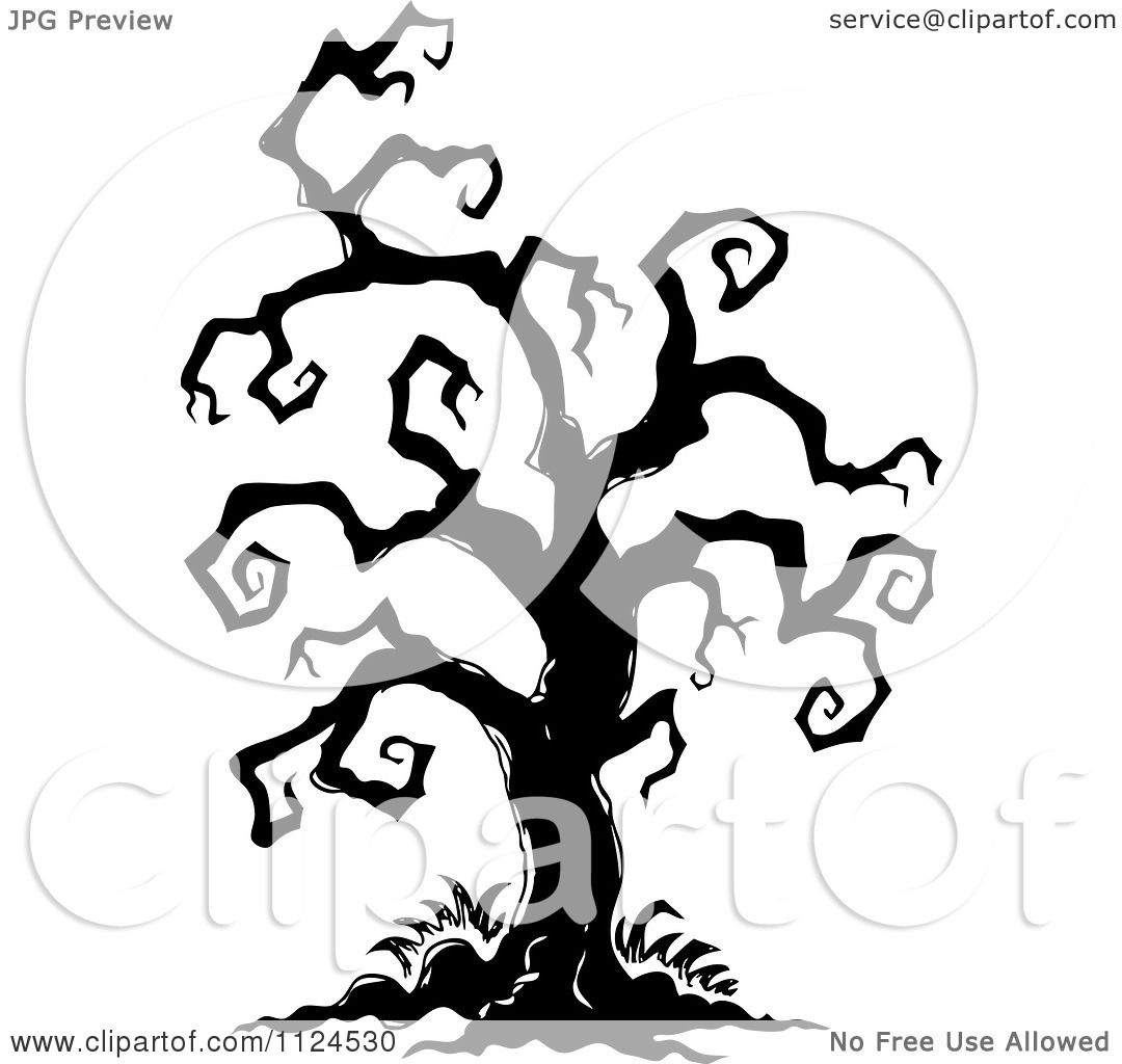 Clipart Of A Sketched Black And White Creepy Bare Halloween Tree.