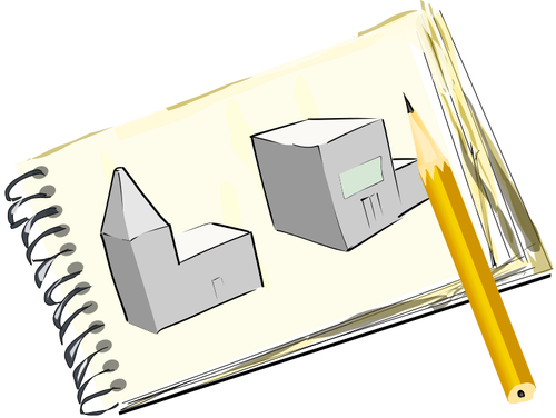 A notepad with street sketch.