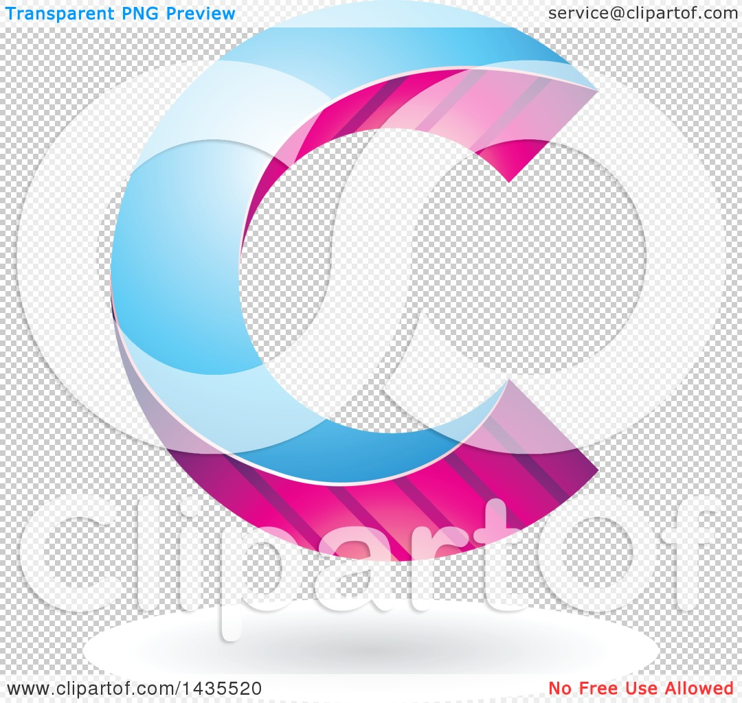 Clipart of a Skewed Letter C Design with a Shadow.