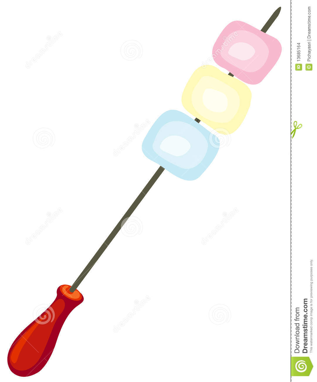 Marshmallow On Skewer Stock Images.