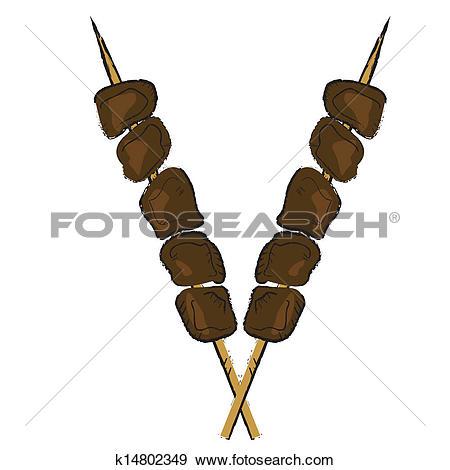 Clip Art of Skewer hand drawn k14802349.