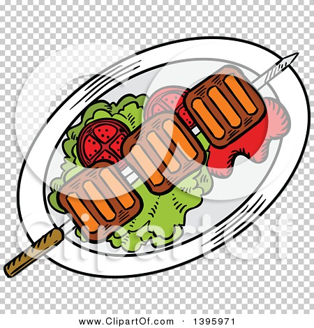 Clipart of a Sketched Beef Picanha Skewer.