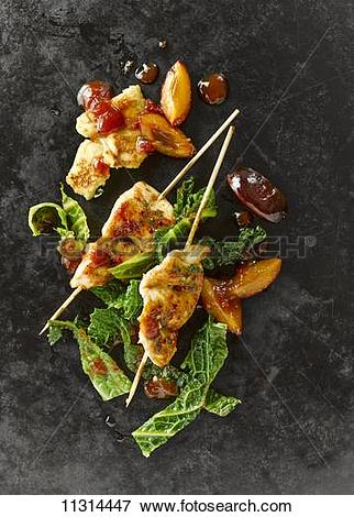 Picture of Chicken breast skewers with savoy cabbage, plums, bacon.