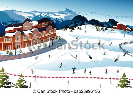 Vectors of Scene in a Ski Resort.