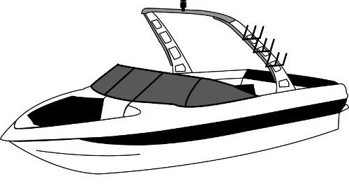 Boat Covers for Rear Mounted Facing Tower Tournament Skis.