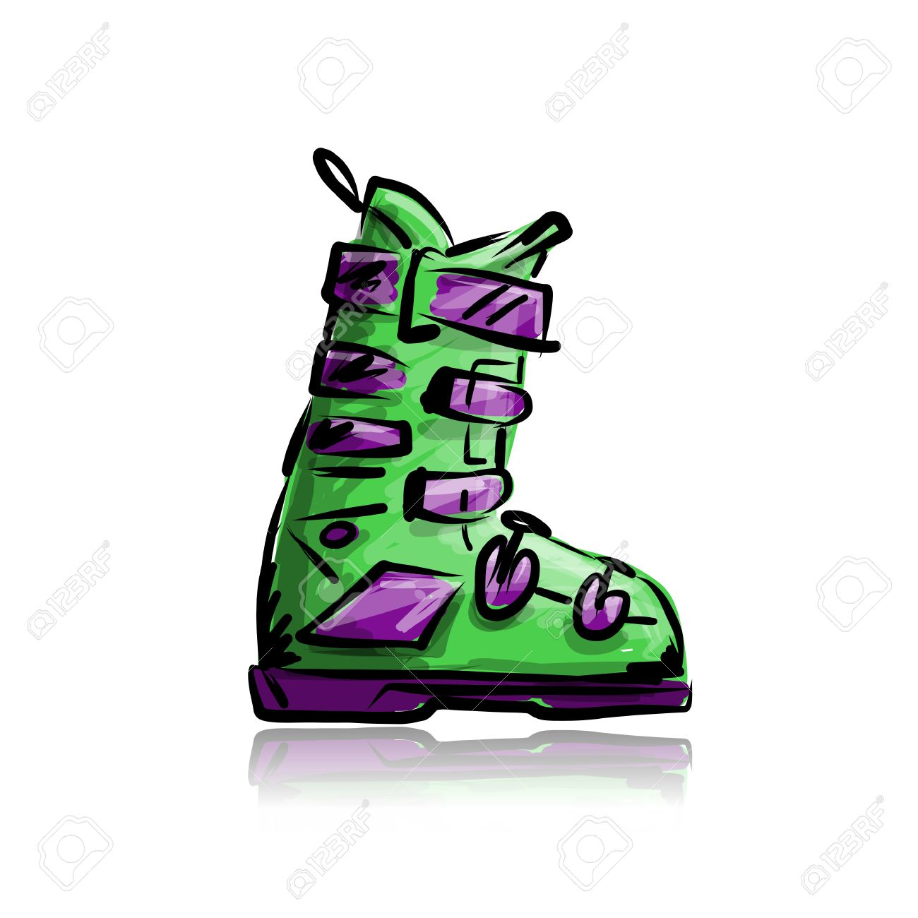 Ski Boots, Sketch For Your Design Royalty Free Cliparts, Vectors.