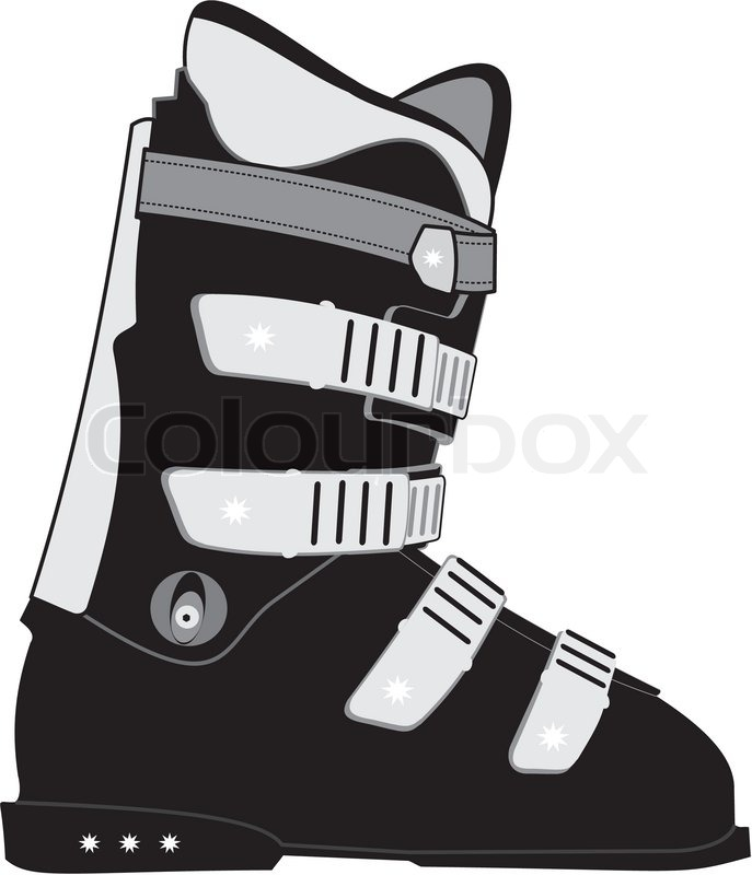 Isolated illustration of ski sports boot on white background.