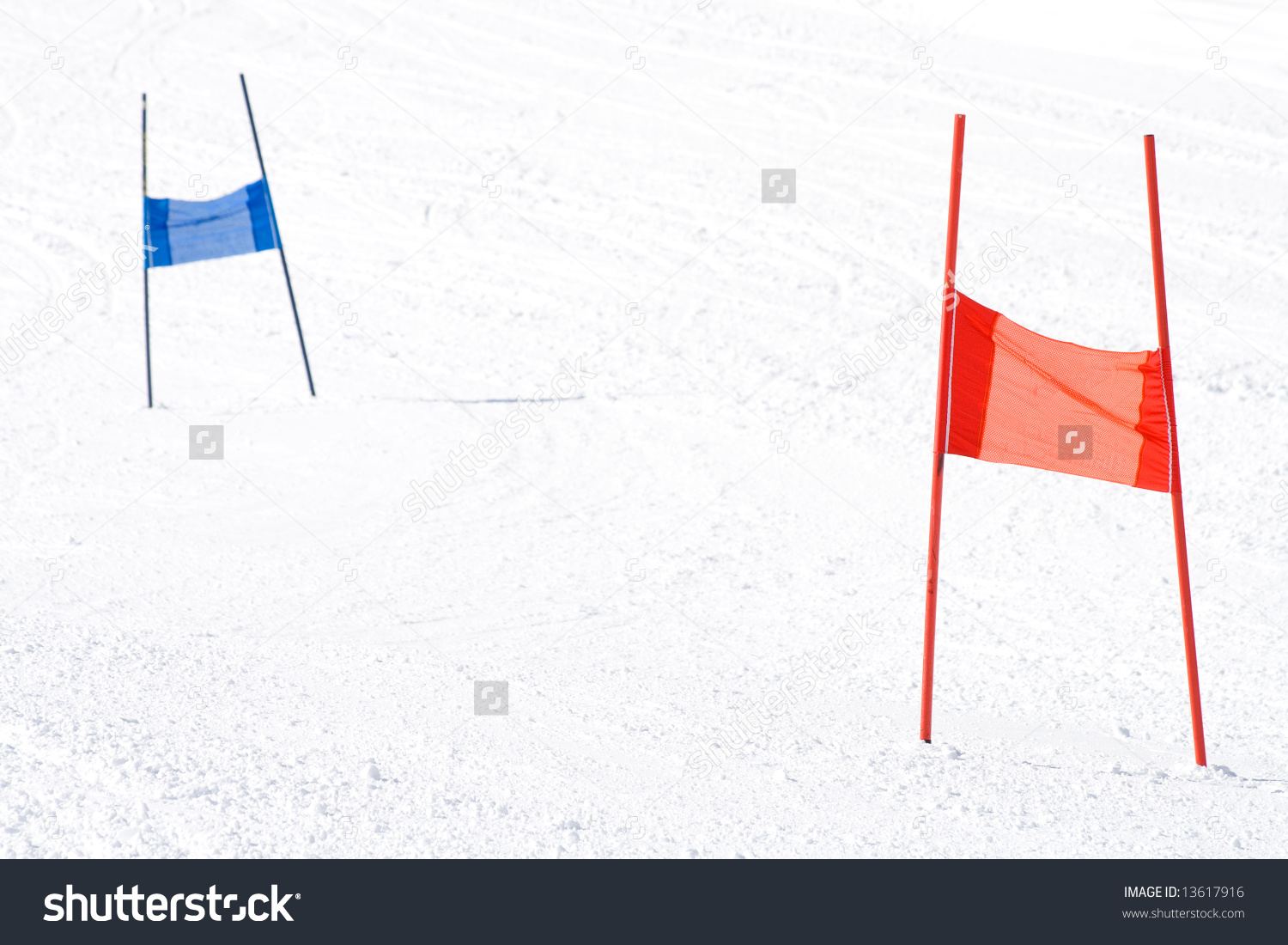 Red Blue Ski Gates Slalom Course Stock Photo 13617916.