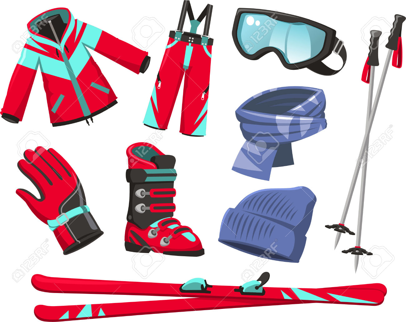 Ski Tools And Equipment Cartoon Icons Royalty Free Cliparts.