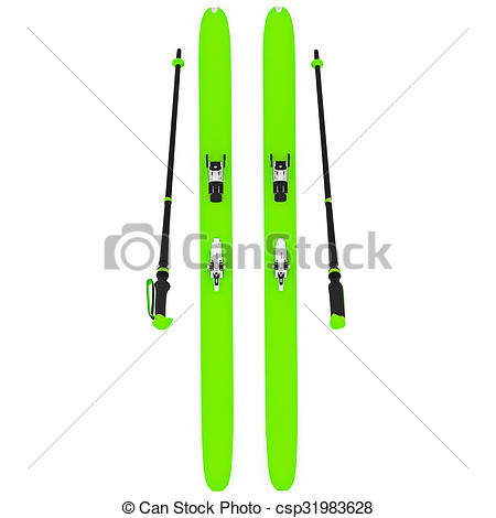 Clip Art of Skiing green ski poles, top view. 3D graphic isolated.