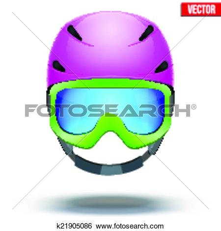Clip Art of Front view of Classic pink Ski helmet and green.