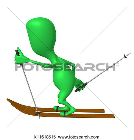 Stock Illustration of View green puppet ski on white snow.