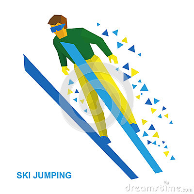 Winter Sports: Ski Jumping. Cartoon Skier During A Jump. Stock.