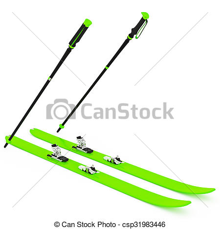Drawing of Skiing green, fixation and ski poles. 3D graphic.